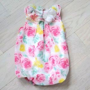 Flower baby girl puff onesie